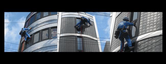 ガラス清掃の作業風景1 大阪