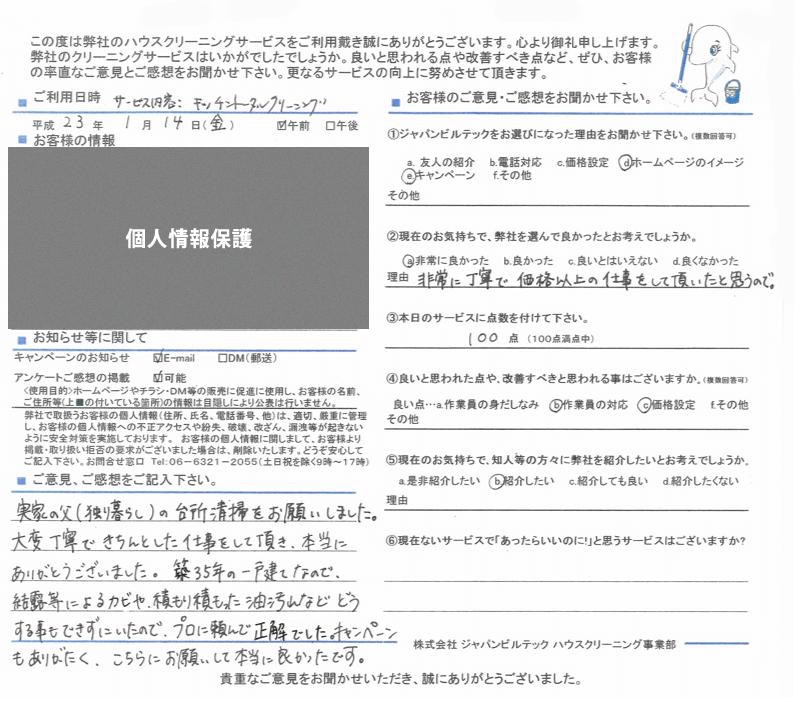 キッチンクリーニング大阪吹田 お客様の口コミ(評価)230114